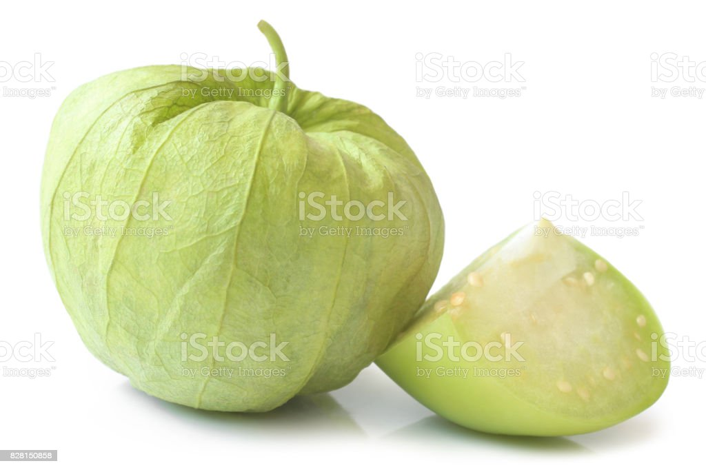 Fresh green tomatillos (Physalis philadelphica) with a husk stock photo