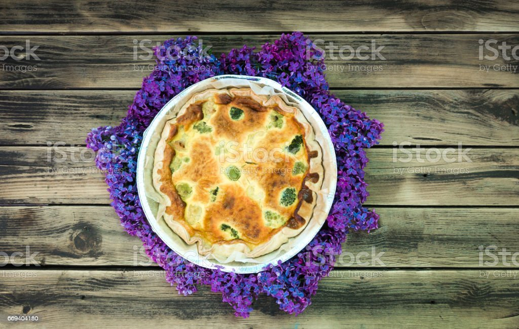 Fresh Green Vegetables cheesecake on dark wooden rustic background stock photo