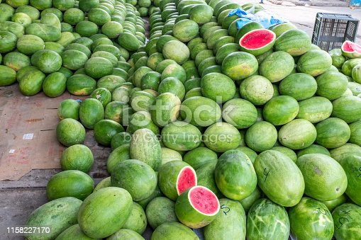 Fresh green Watermelons for sale wholesale fruitmarket in Portoviejo Ecuador