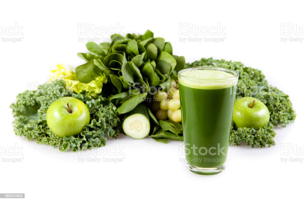 Fresh greens and fruits used to make a smoothie stock photo