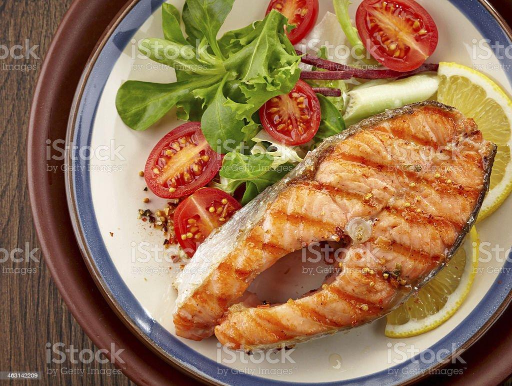 fresh grilled salmon steak slice royalty-free stock photo