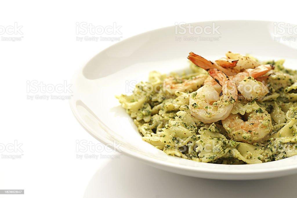 Fresh Grilled Shimp and Basil Pesto Pasta royalty-free stock photo