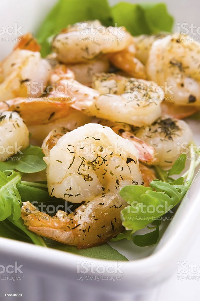Fresh grilled shrimps on white plate royalty-free stock photo