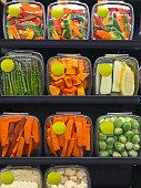 Packaged fresh groceries in supermarket