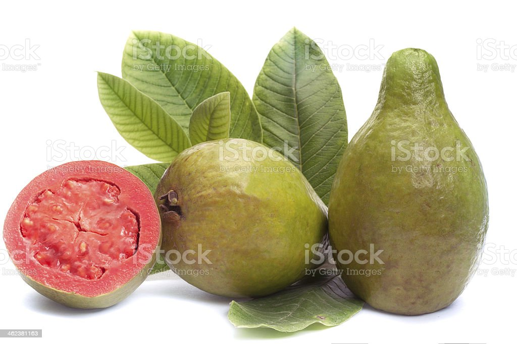 Fresh Guava fruit with leaves on white background royalty-free stock photo