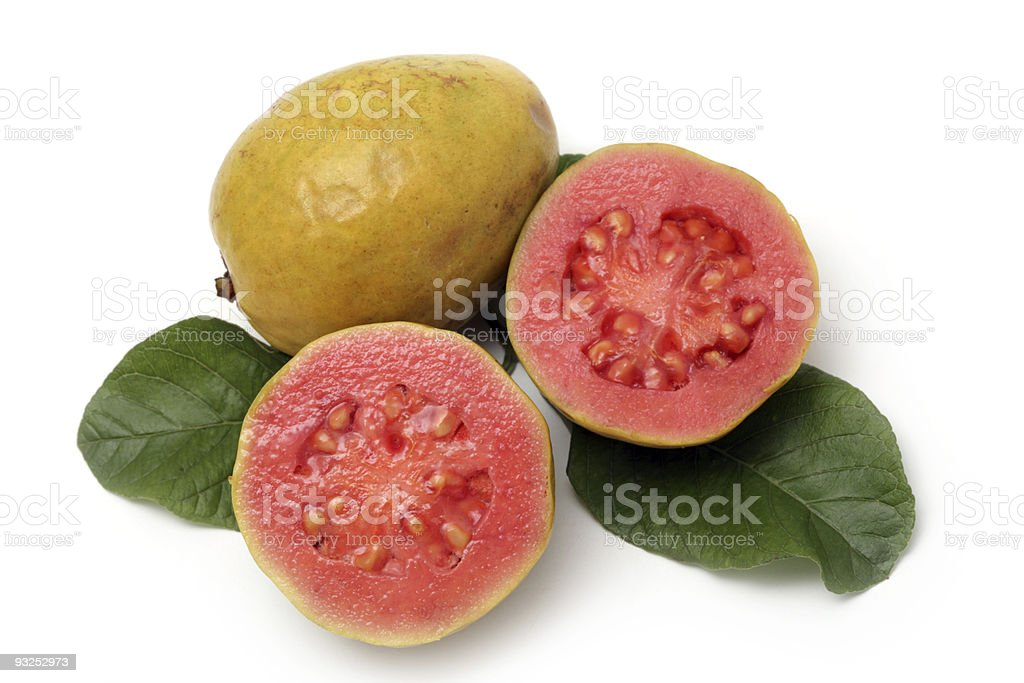 Fresh Guava fruit with leaves on white stock photo