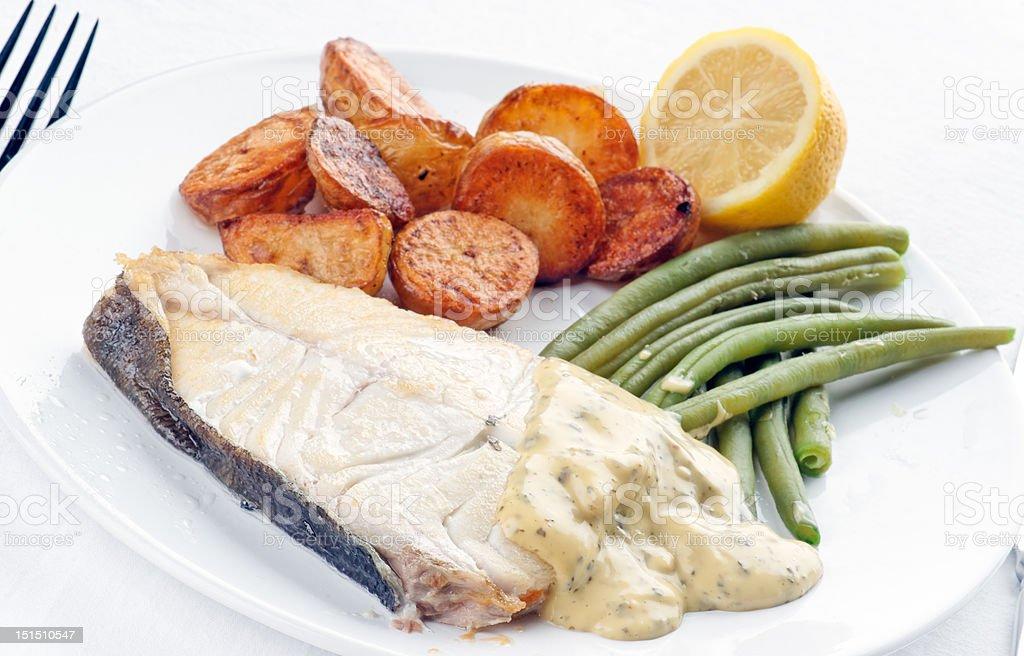 Fresh Halibut Meal stock photo
