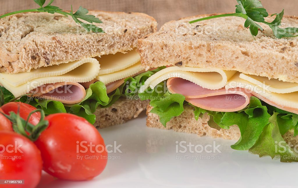 Fresh ham and cheese on white sandwich royalty-free stock photo