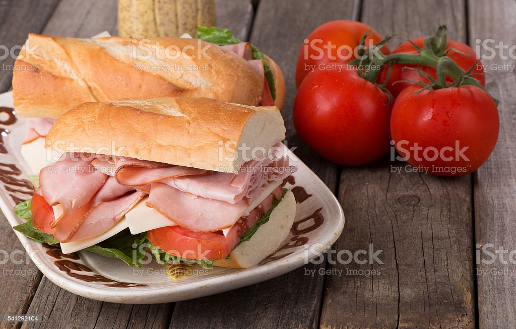 Fresh Ham and Cheese Sandwichs stock photo
