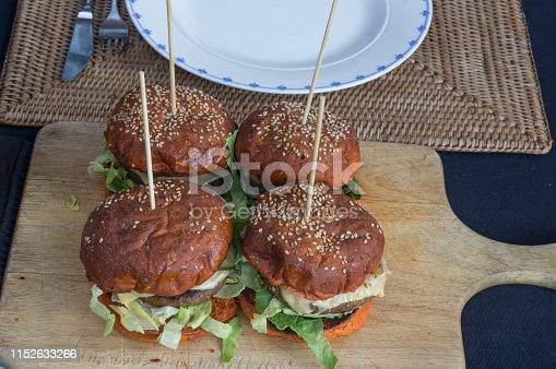 Fresh Hamburgers in close up