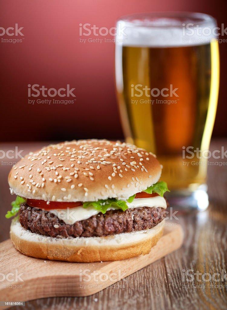 Fresh Hamburger With Beer royalty-free stock photo