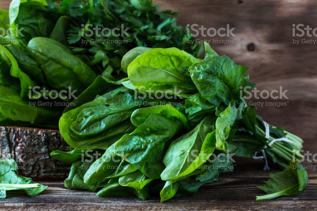 Fresh harvested organic spinach stock photo