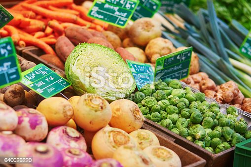 istock Fresh healthy bio fruits and vegetables on market 640026220