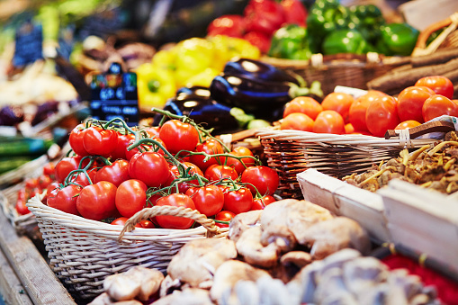 Fresh healthy bio fruits and vegetables on market