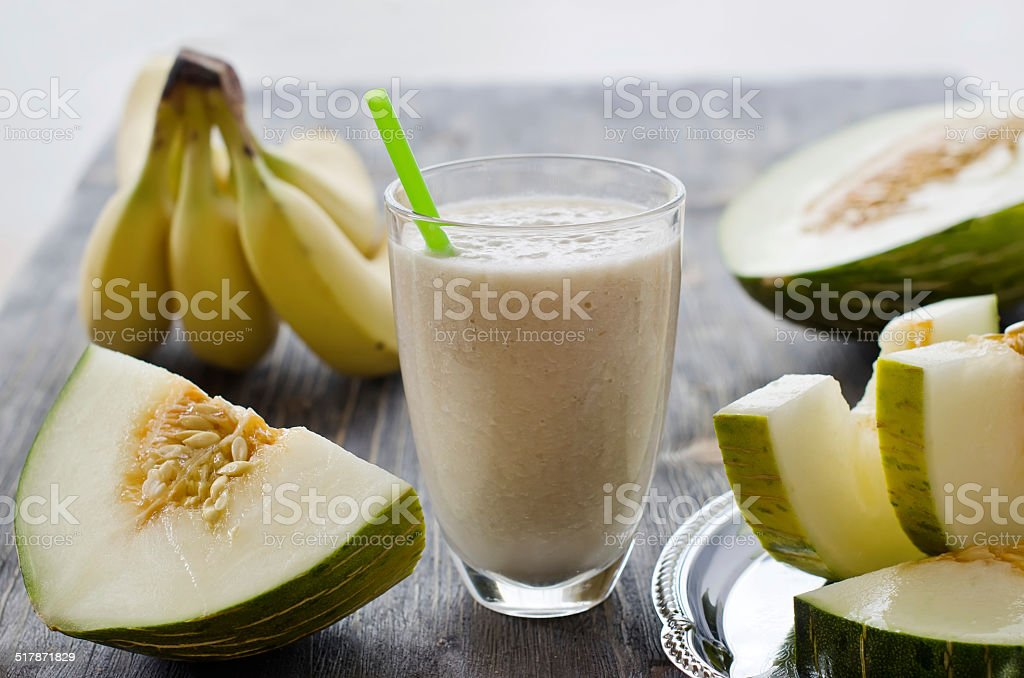 Fresh healthy drink  smoothie with fruits stock photo