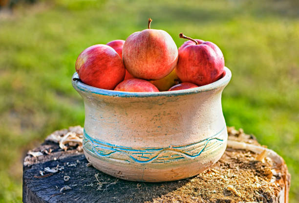 Fresh healthy fruit  : ripe apples  on a wooden background  in a  ceramic bowl stock photo