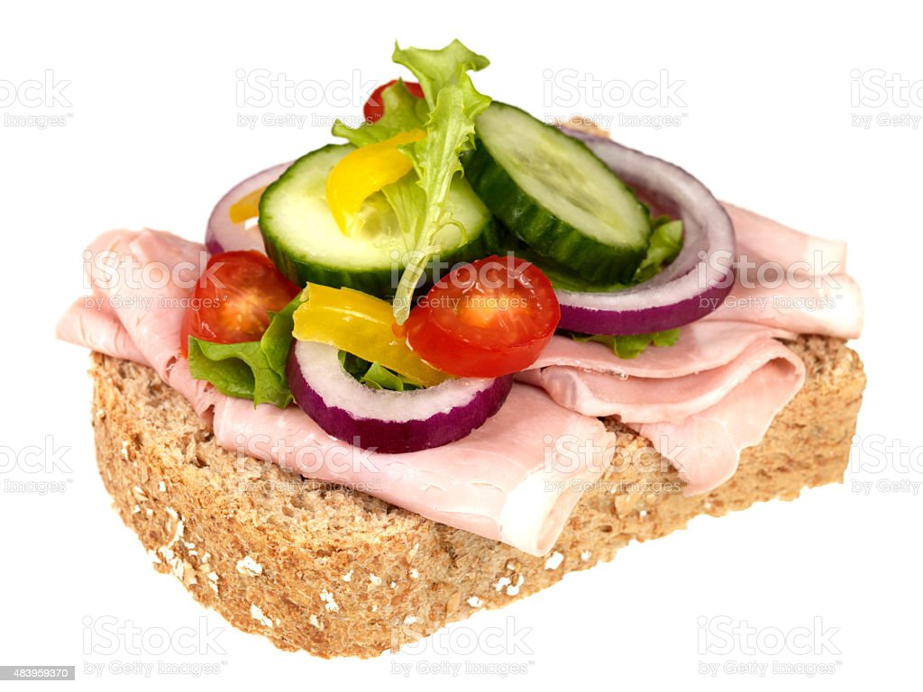Fresh Healthy Lean Ham and Salad Open Sandwich​​​ foto