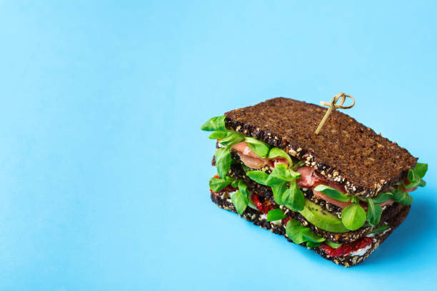 Fresh healthy rye bread sandwich stock photo