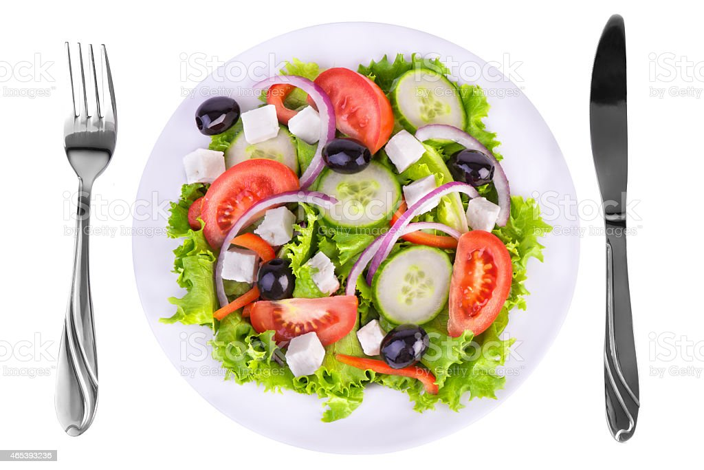 Fresh healthy salad full of veggies to eat stock photo