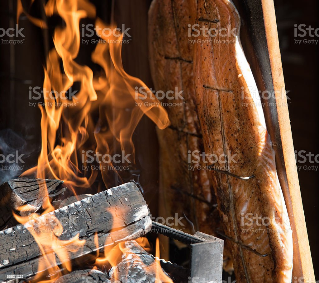 Fresh healthy Salmon fish cooked on  barbecue stock photo