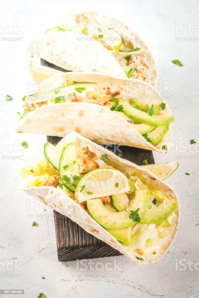 Fresh healthy tacos stock photo
