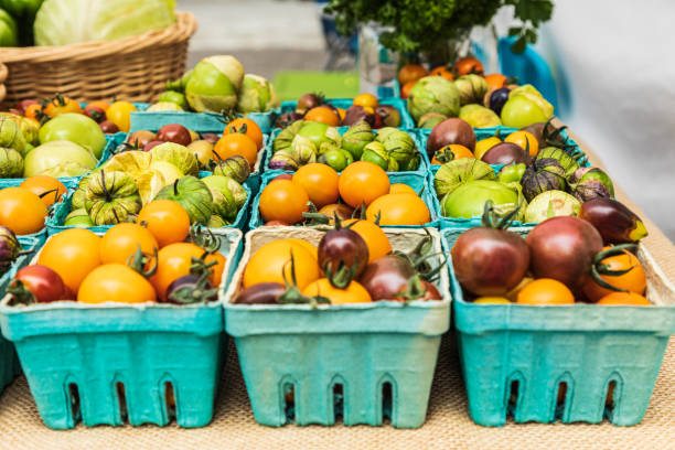 Fresh heirloom tomatoes for sale at a farmers market stock photo