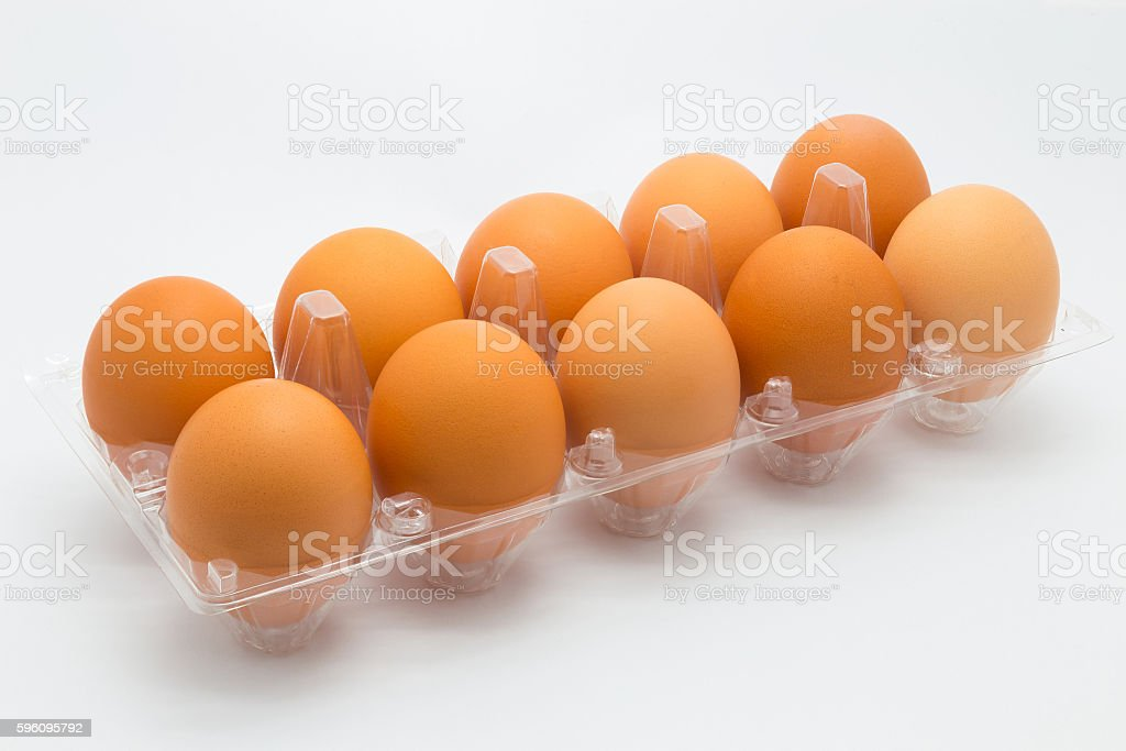 Fresh hen eggs on white Lizenzfreies stock-foto