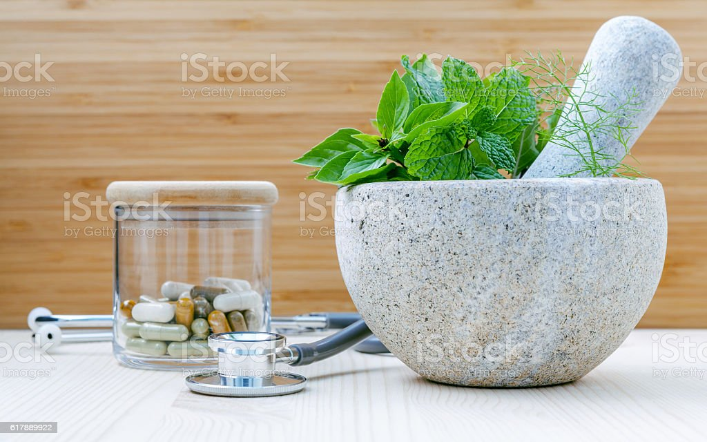 Fresh herbal leaves . stock photo