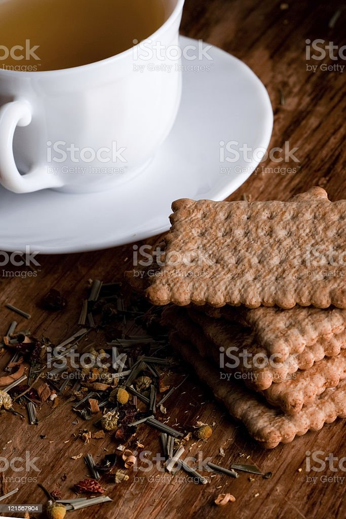 fresh herbal tea and some cookies royalty-free stock photo