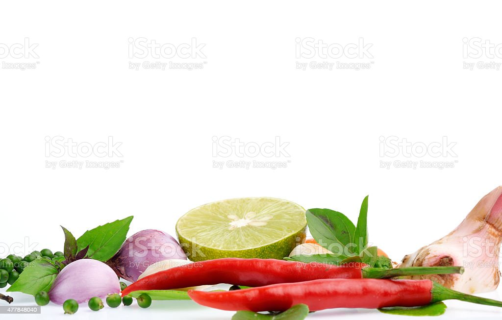 Fresh herbs and spices isolated on white background stock photo