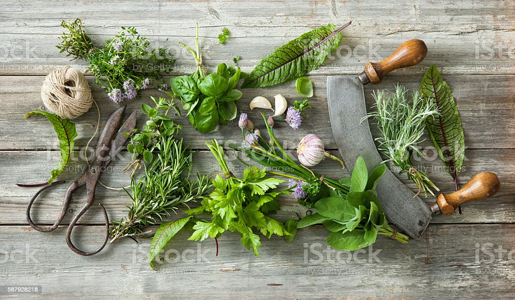 fresh herbs and spices on wooden table – Foto