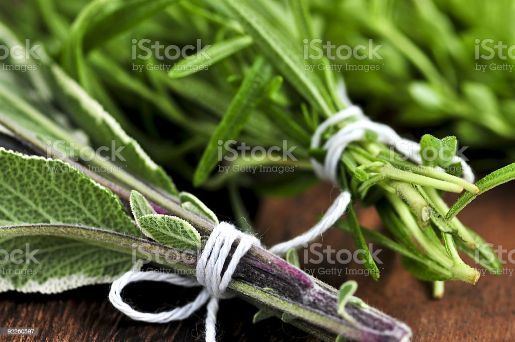 Fresh herbs bunched together with white string royalty-free stock photo