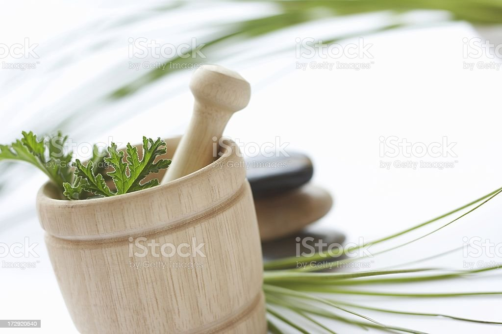 fresh herbs in mortar and pestle royalty-free stock photo