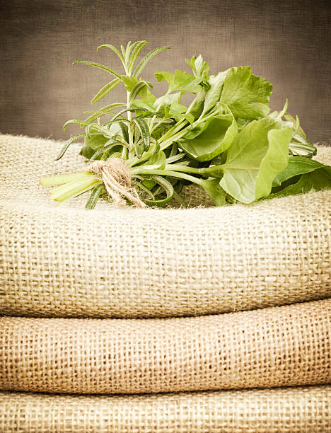 fresh herbs on burlap - meerdere lagen effect stockfoto's en -beelden