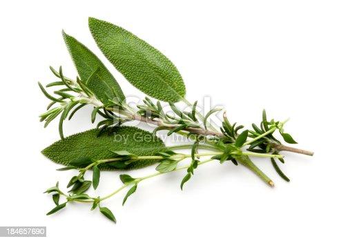 Fresh Herbs on white.