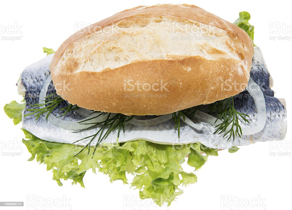 Fresh Herring on a roll against white royalty-free stock photo