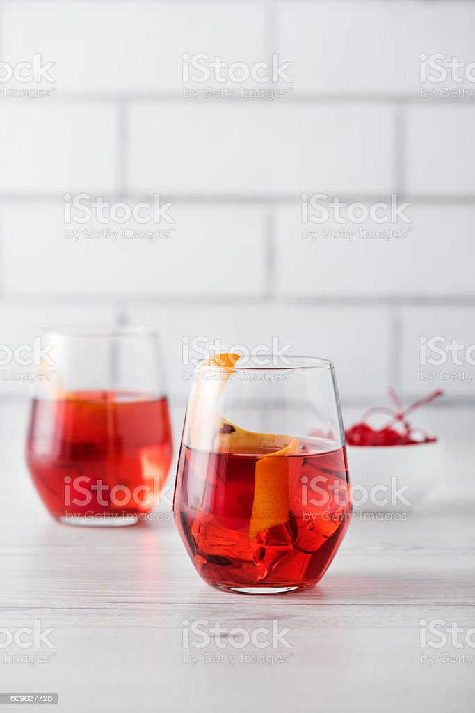 Fresh home made Negroni cocktails stock photo