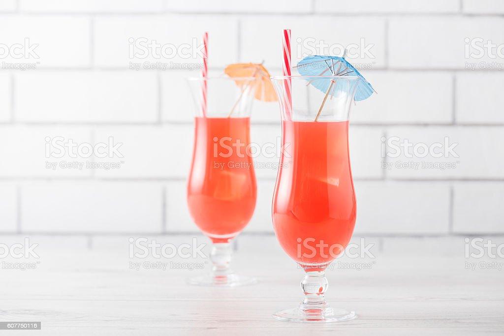 Fresh home made Singapore Sling cocktails stock photo