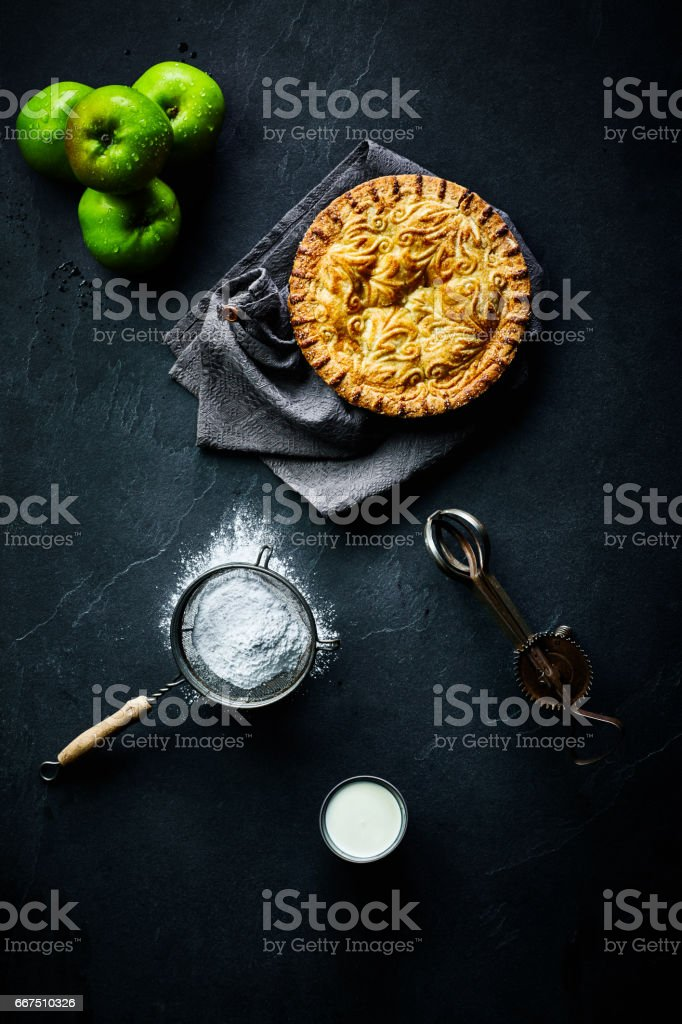 Fresh homemade apple pie stock photo
