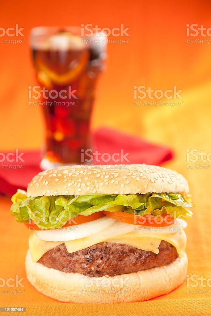 Fresh homemade Beef tomato cheese onion burger isolated royalty-free stock photo