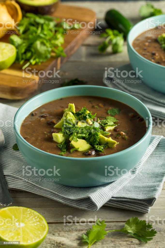 Fresh Homemade Black Bean Soup stock photo