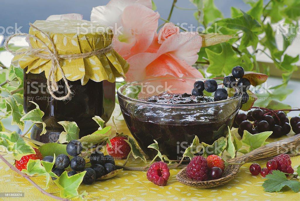 Fresh homemade chokeberry confiture royalty-free stock photo