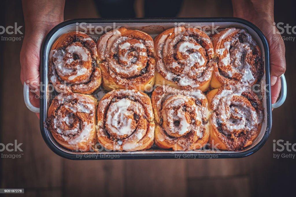 Fresh Homemade Cinnamon Buns stock photo