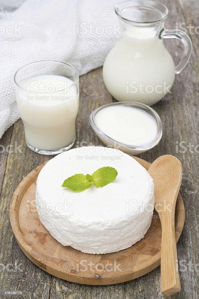 fresh homemade cottage cheese, yogurt and milk royalty-free stock photo