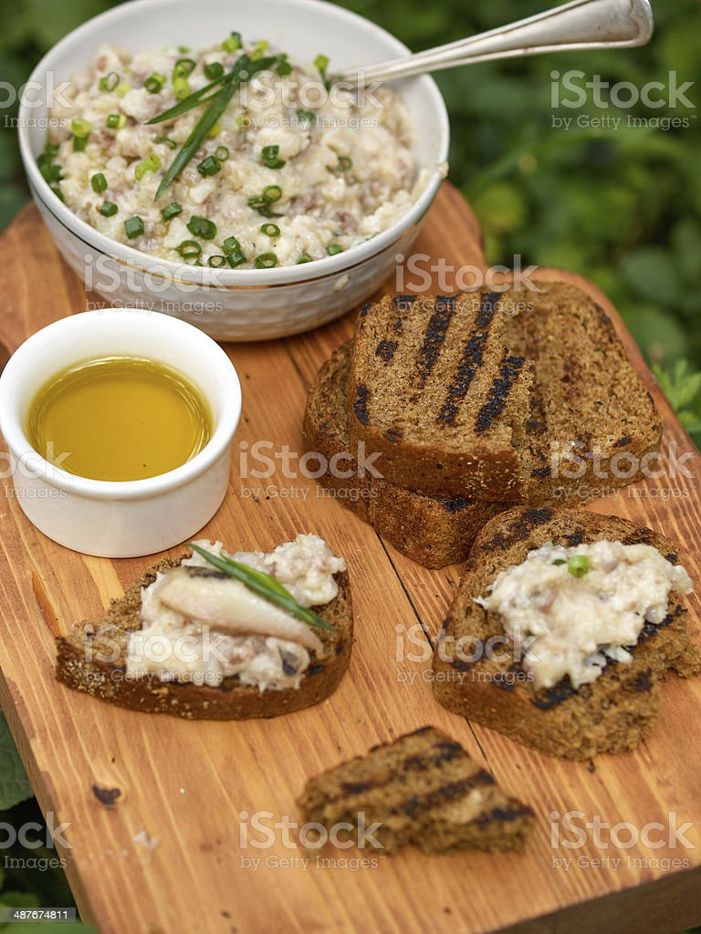 Fresh homemade creamy pate on slice of bread stock photo