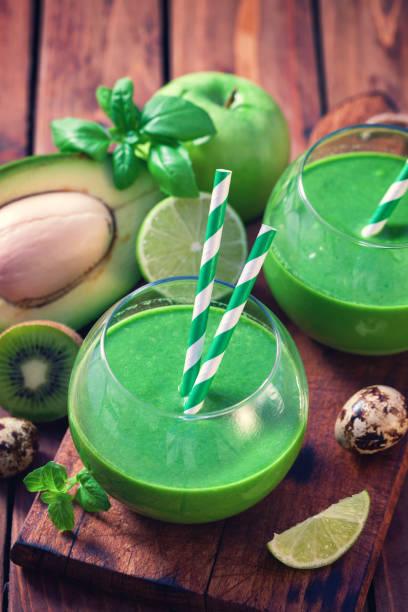 Fresh Homemade Green Smoothie stock photo
