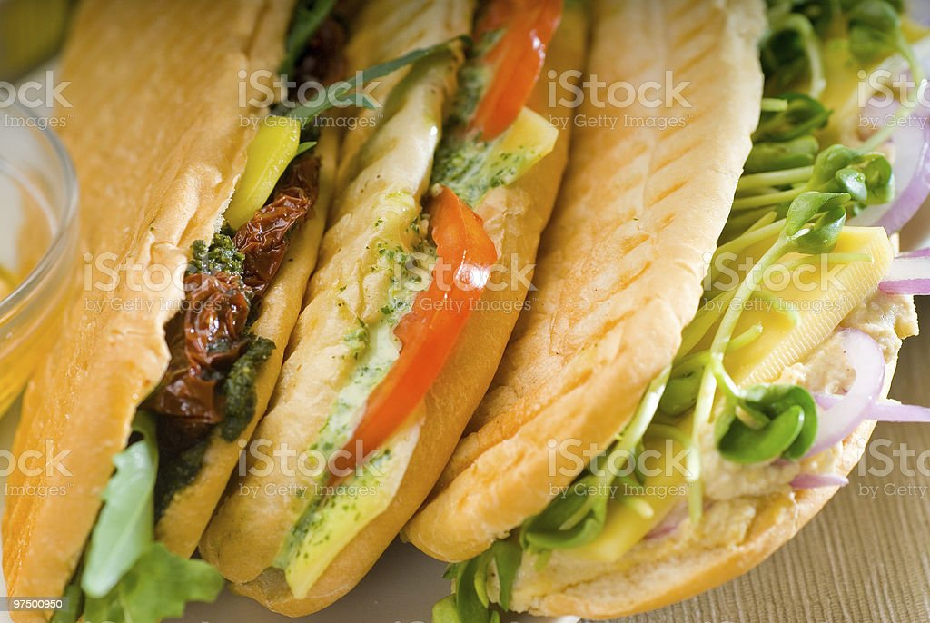 fresh homemade italian panini sandwich royalty-free stock photo