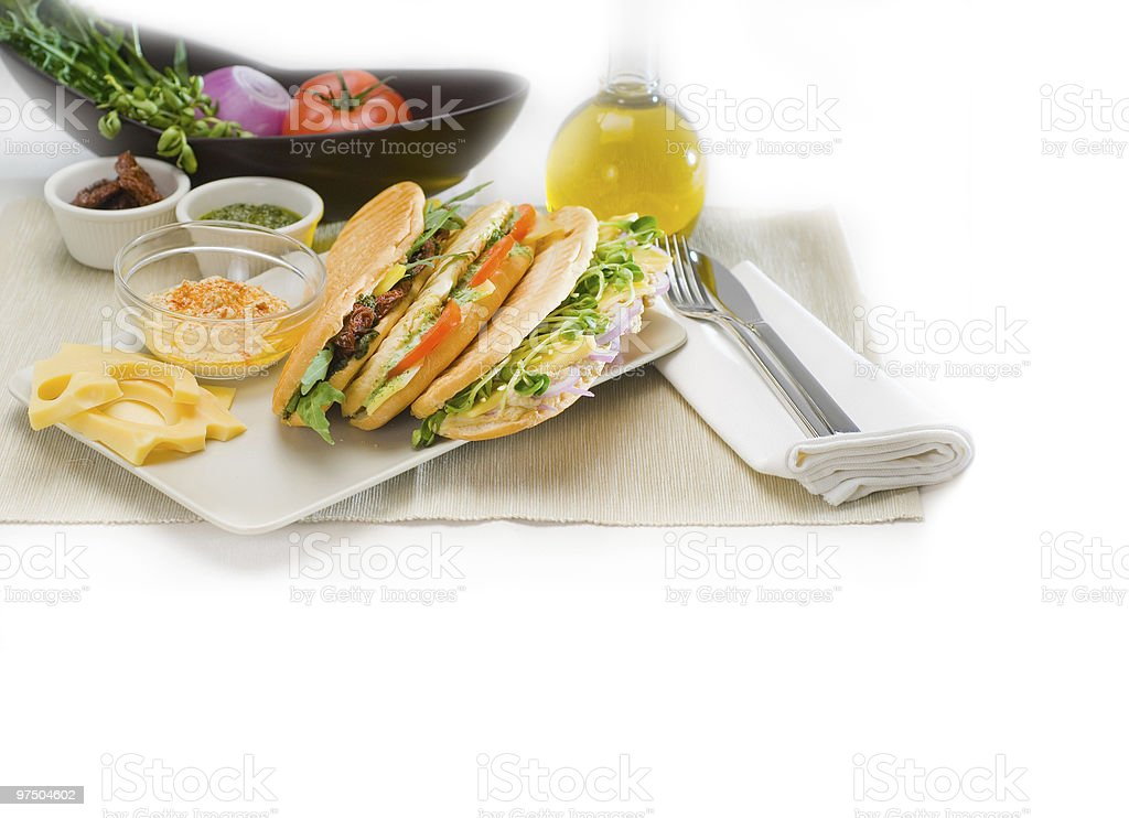 fresh homemade italian panini sandwich royalty-free stock photo