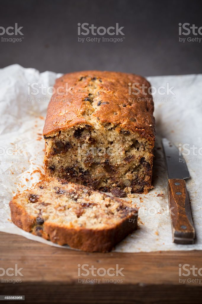 Fresh homemade loaf of banana bread stock photo