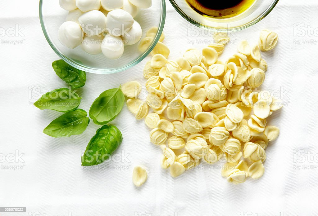 fresh homemade pasta orecchiette and ingredients on white stock photo